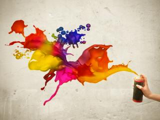 обои Разноцветные краски с одного балончика фото