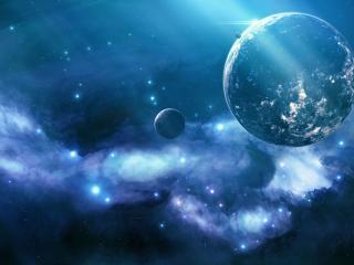 обои Огоньки далеких галлактик и шары планет фото