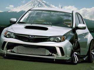 обои Subaru Impreza WRX STi на фоне горы фото