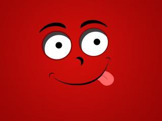 обои Рожица с языком на красном фоне фото