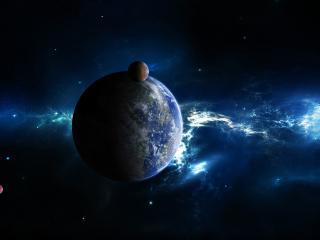 обои Темный космос и земля со спутником фото