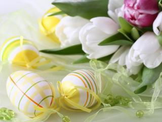 обои Тюльпанов букет и пасхальные яйца фото