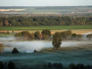 обои Летнее утро - туман над рекой фото