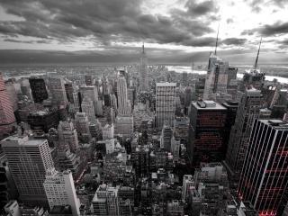 обои Мегаполлис под серым небом фото