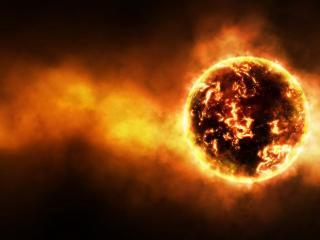 обои Темная пылающая планета фото