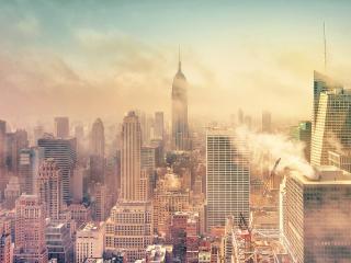 обои Небоскребы города в дыму фото
