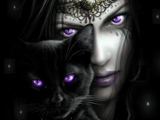 обои Черная кошка и лицо с фиолетовыми глазами фото