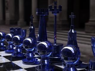 обои Синие шахматные фигуры на доске фото