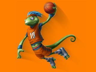 обои Ящерица баскетболистка с мячем фото