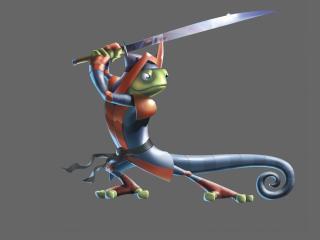 обои Ящерица самурай с мечем фото