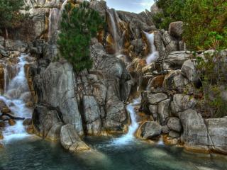 обои Два русла водопада у одной реки фото