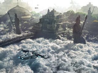 обои Транспортные корабли будущего и храм выше облаков фото