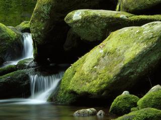 обои Вода из-под больших камней фото