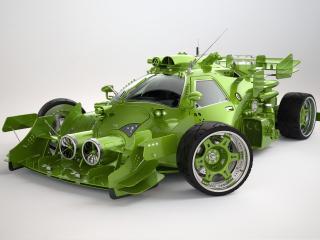 обои Модернизированное зеленое авто фото