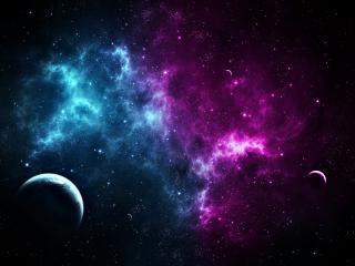 обои Сине-фиолетовый космос в темной галлактике фото