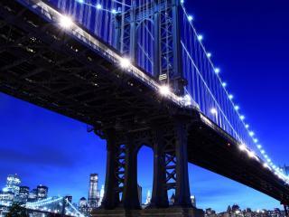 обои Огоньки мостов и города вечернего фото