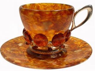 обои Чашка и блюдце из янтаря фото