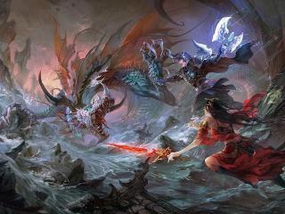 обои Бой у воды с драконом фото
