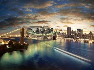 обои Панорама города и моста раскинувшегося у залива фото
