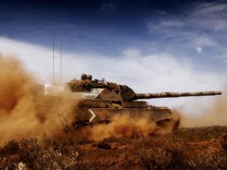 обои Пыль идущая с танком фото