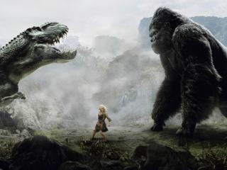 обои Девушка между Кинг-Конгом и динозавром фото