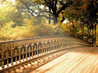 обои Деревяный мост с резными перилами фото