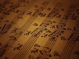 обои Тетрадь с музыкальными нотами фото
