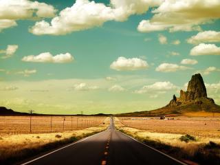 обои Ровная дорога с разметкой фото