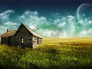 обои Пустой деревяный дом на поле фото