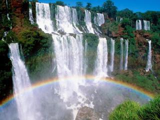 обои Стенf водопадов с радугой в воде фото