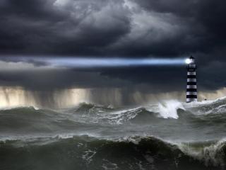 обои У маяка штормит,   непогода фото