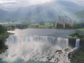 обои Широкий водопад у замка фото