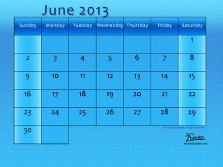 обои Календарь - 2013 Июнь - Голубой фон фото
