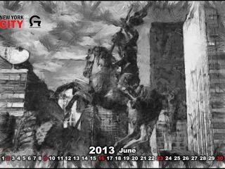 обои для рабочего стола: Календарь - 2013 Июнь