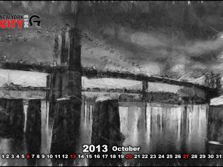 обои для рабочего стола: Календарь 2013 - Октябрь