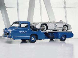 обои Mercedes-Benz Blue Wonder Transporter 1954 бок фото