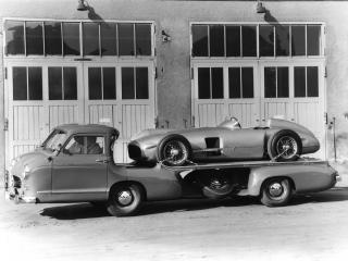 обои Mercedes-Benz Blue Wonder Transporter 1954 сбоку фото