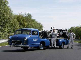обои Mercedes-Benz Blue Wonder Transporter 1954 трэк фото