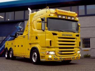 обои Scania R500 6x2 Highline Tow Truck 2004 перед фото