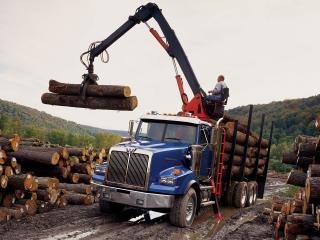 обои Western Star 4900 SA Logging Truck 2008 перед фото