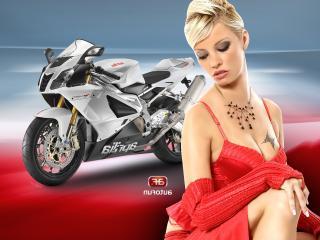 обои Деввушка в красном с бабочкой тату на груди и мотоцикл фото