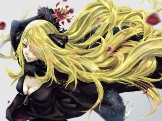 обои Длинноволосая блондинка с лепестками роз фото