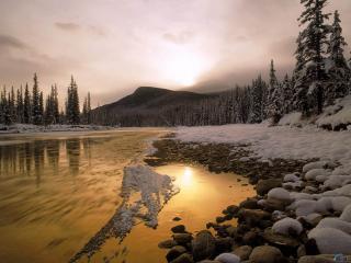 обои Зимний берег реки фото