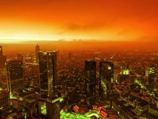 обои Зарево оранжевое над городом фото