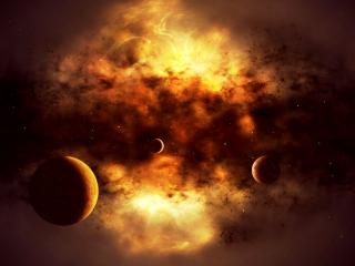 обои Огненное небо и планеты фото