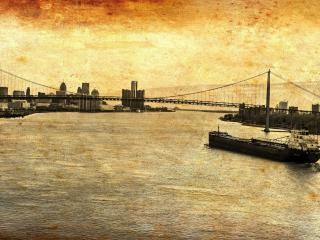 обои для рабочего стола: Ретро-фото моста и баржи на реке