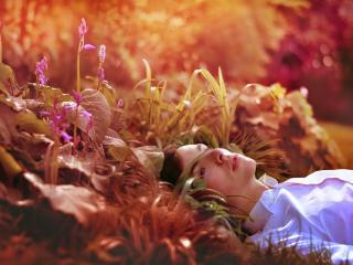обои Парень в рубашке белой лежит в траве фото