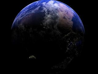 обои Черный фон и земля со спутником фото
