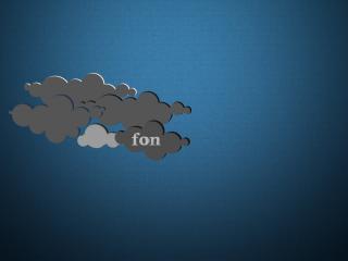 обои Облака с надписью на фоне синем фото