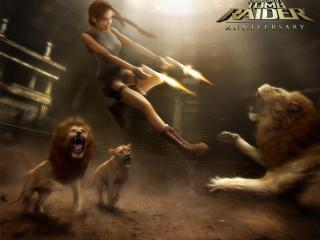 обои Лара Крофт против львов фото